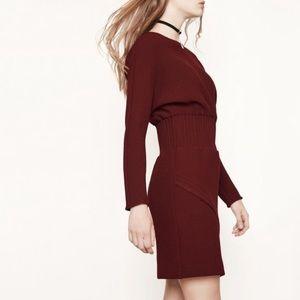 Maje Burgundy Knit Dress